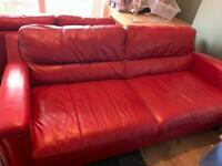 Free 2 Really comfy red leather sofas 2 seater and large 3 seater