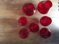 Red Glass Set Of 7 Glasses Brandy? Ornamental Various Sizes