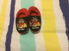 Boys Angry Bird slippers size 10 and Primark white shirt 4-5 years