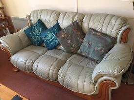 3 Seater and 2 Seater Pale Green leather sofas.