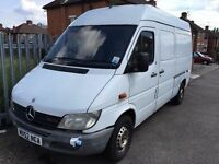 2003 MERCEDES SPRINTER LWB.WARRANTY OFFERED.BRILLIANT DRIVE.POWER SUPPLY.EXTRA SECURITY LOCKS.NO VAT
