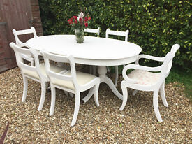 Large When Extended Shabby Chic Painted Dining Table and 6 Chairs