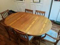 Solid 6/8 seat wooden dining/poker table with custom covers + 6 chairs (ready to use or upcycle)