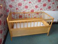 Cot/Junior Bed. Light Wood.