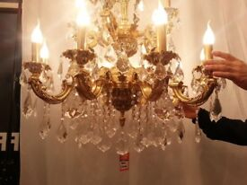 DELUXE 12 ARM CANDLE LIGHT FRENCH LOUIS XV STYLE GLASS CRYSTAL BRASS CHANDELIER ONLY £350 SALE !!!