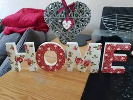 HOME Letters and decorative heart