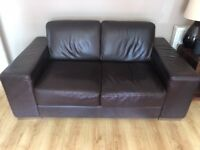 Brown leather 3 piece sofa for sale - must collect