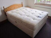 "Mostly unused 4'6"" bed - pocket spring mattress, divan base and pine headboard"