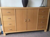 Next beech effect sideboard. Approx. dimensions 1.48(w)x0.42(d)x0.9(h). Very good condition.
