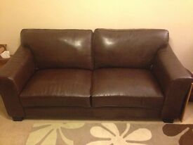 3 seater + 2 seater brown leather sofa