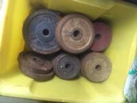 40kg metal weight plates & 3 sets dumbells & some bars
