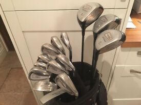 Matching set of Driver, 3 & 5 Woods, Irons (3 - SW) Putter, Chipper Putter, Golf Trolley, bag & more