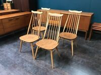 Goldsmith Elm & Beech Windsor Dining Chairs by Ercol. Retro Vintage Mid Century