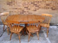 Ducal pine folding dining table and 4 chairs