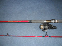 fishing rod silstar mx 3505-270 carbon 2.7 mt 2 piece c/w regal clutch reel classic rod