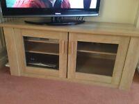 Limed oak veneer tv unit