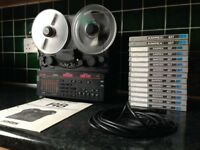 FOSTEX R8 VINTAGE 8-TRACK RECORDER WITH RARE CONTROL PANEL EXTENSION CABLE & 14 TAPES (10 BRAND NEW)