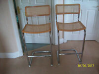 pair of chrome kitchen stools