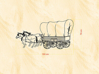 Western & Country Tattoo Covered Wagon - 150x78 cm - Wand-, Fenster-, Möbel- ()