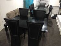 Gloss Black Dining Table and 4 Chairs