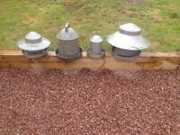 4 chicken hen food and water feeders galvanised metal