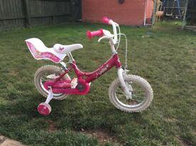 "Girls Dawes Lottie bike 14"" with stablisers"