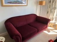 3seater and two seater in velour burgundy/purplsofa sofa , with walnut legs , great condition .