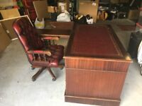 Rare larger writing desk with return and executive leather chair