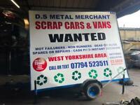 Scrap cars wanted 07794523511 spares or repair none runners mot failed any cars vans trucks
