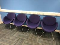 4x DESIGNER TUB CHAIRS WIRE FRAME PURPLE BLUE £50 EACH CAN DELIVER £400 RRP EACH