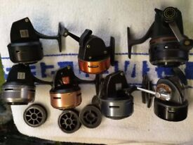 7 ABU closed faced fishing reels and 1 diawa harrier and 1 roddy