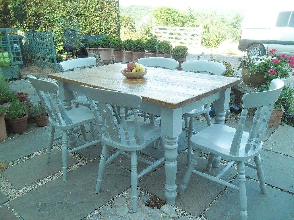 Dining table and 6 chairs, traditional farmhouse style and shabby ...