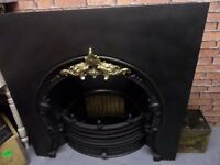 Beautiful HUGE Cast Iron Insert Fireplace and Back Plate - UK Delivery