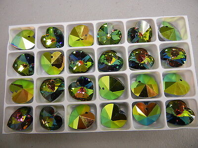 8 new preciosa heartshape crystal pendants(top drilled)18mm vitrail medium 2X