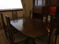 Rosewood Dining Table Sideboard and 8 Chairs