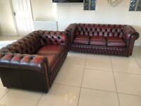 STUNNING CHESTERFIELD SAXON 3 + 2 SEATER CLUB SOFAS IN OXBLOOD LEATHER