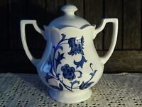 Windsong Royal Staffordshire Ironstone J & G Meakin Blue and White Floral Sugar Bowl and Lid