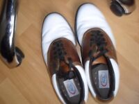 A.O.L FJ GOLF SHOES IN TAN AND WHITE REAL LEATHER SIZE 8/9 UK, 9 US.