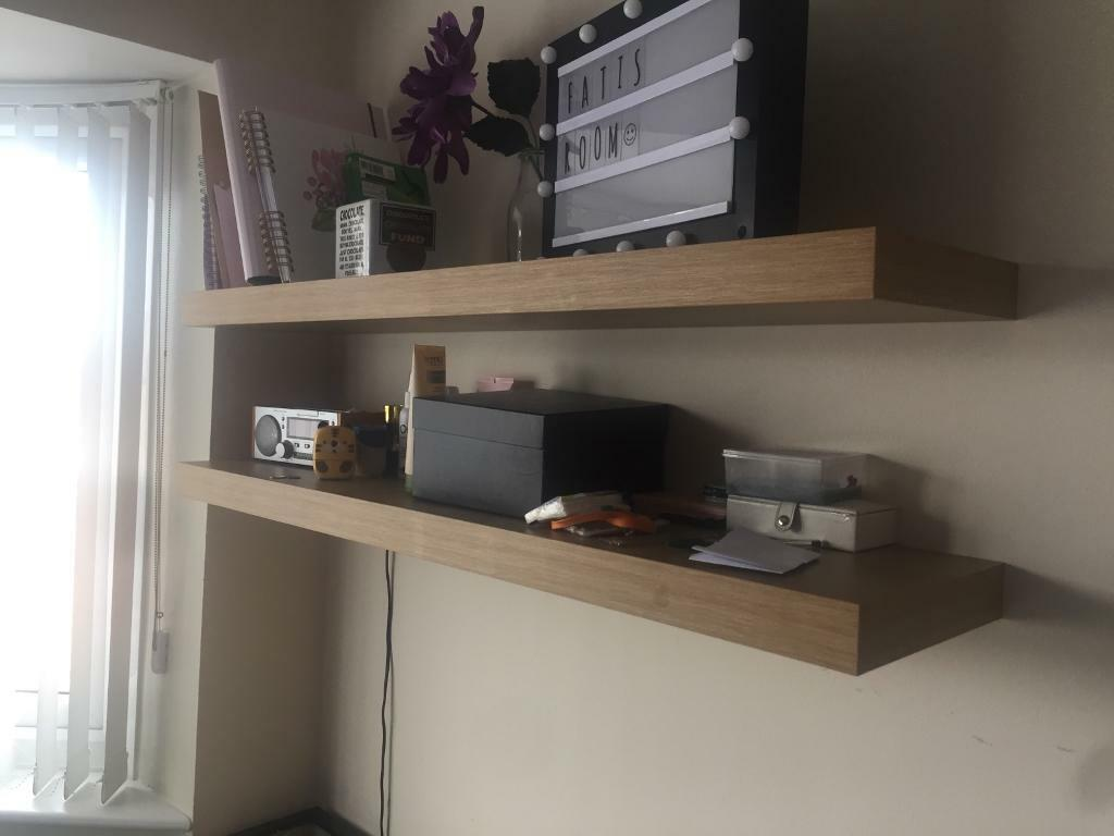 Awe Inspiring Pair Of Floating Shelves Ikea Wooden Oak Wood Shelf X 2 In Leicester Leicestershire Gumtree Download Free Architecture Designs Scobabritishbridgeorg