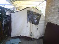 main canopy and awning with all poles from conway campa trailer tent may fit others