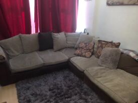 Comfy beige/brown corner sofa with cushions USED