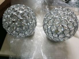 2 x Round Stylish Crystals Wall Light NEW