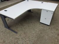 Grey 1800 radial office desks