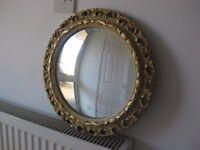 Vintage convex fish eye round ornate gesso porthole mirror