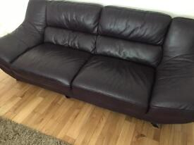 Leather Sofa, 2 swivel chairs and footstool