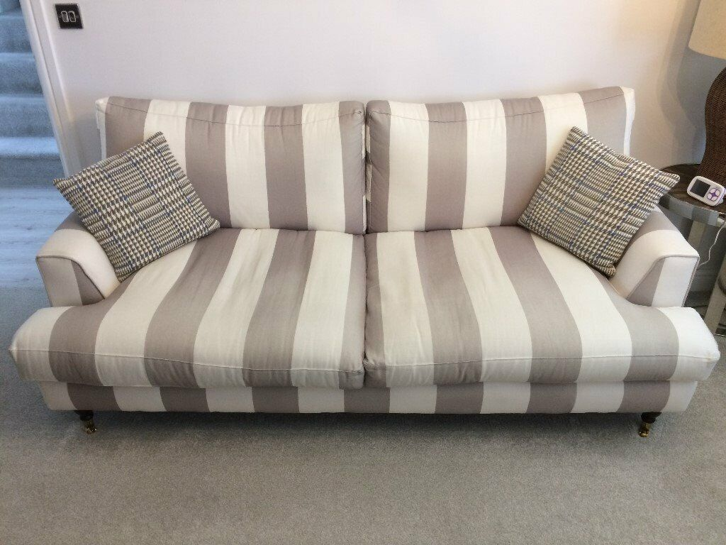 Three Seater White And Green Stripe Fabric Sofa In Derby Derbyshire Gumtree