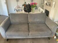 Grey velvet DFS 3 seater Sofa