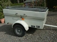 3ft x 5ft x 14 inches depth aluminium trailer with lockable, removable lid.
