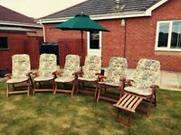 6 Solid Teak adjustable garden chairs, cushions and parasol
