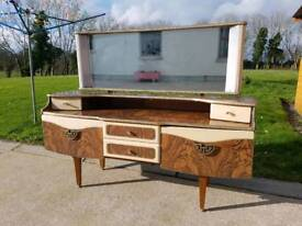 Antique Vintage 1960's Stonehill Cavalier Dressing Table & Mirror Shabby Chic